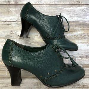 Aerosoles Book Marck 6M Green Leather Granny Boots